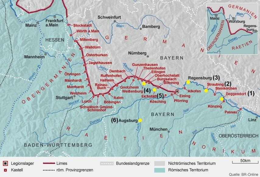 Karte nummeriert nach Geschichte